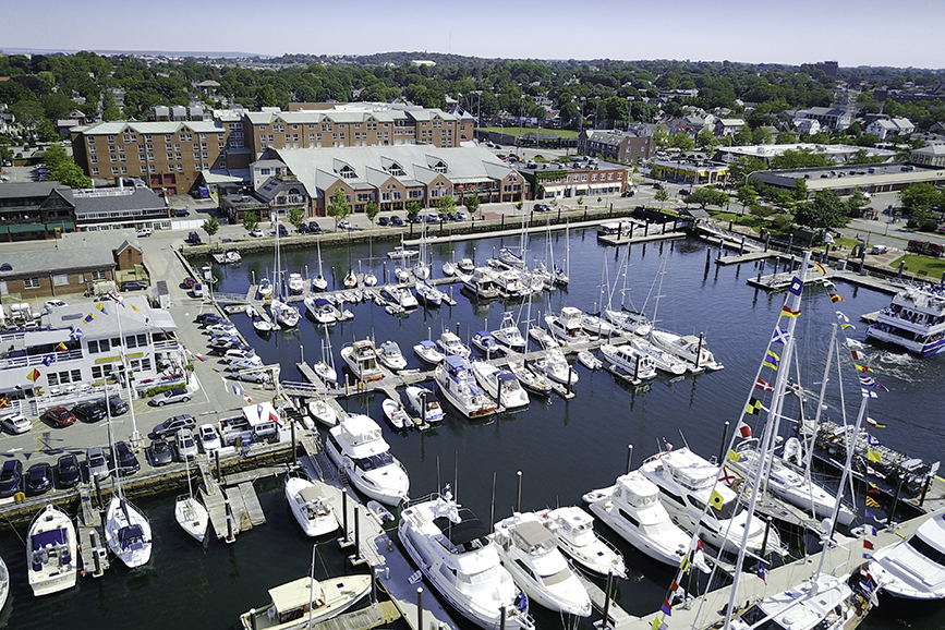 Aerial photo of the Newport Harbor in Newport Rhode Island right next to the Newport Marriott Hotel