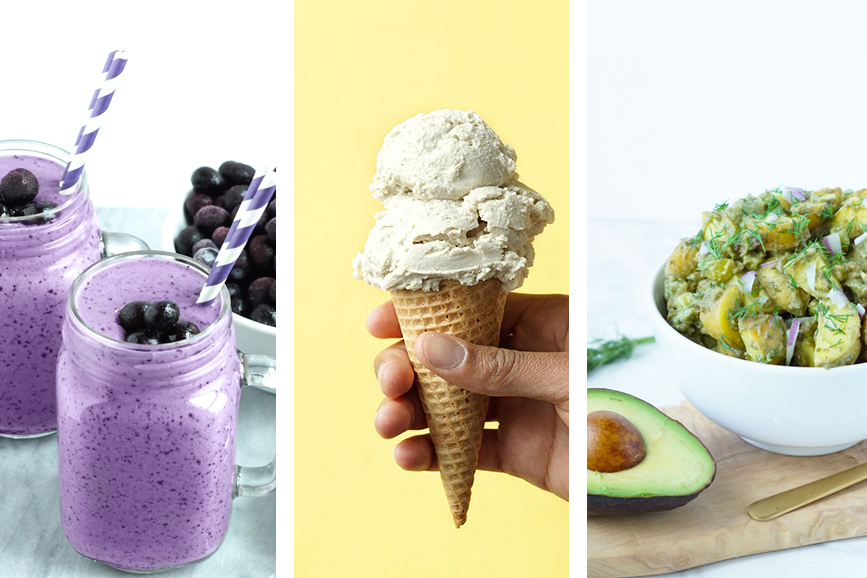 3 photos of some of Brianne Theisen-Eaton's of www.weareeaton.com recipes including a blueberry chia smoothie, vanilla coconut cashew ice cream, and avocado potato salad.