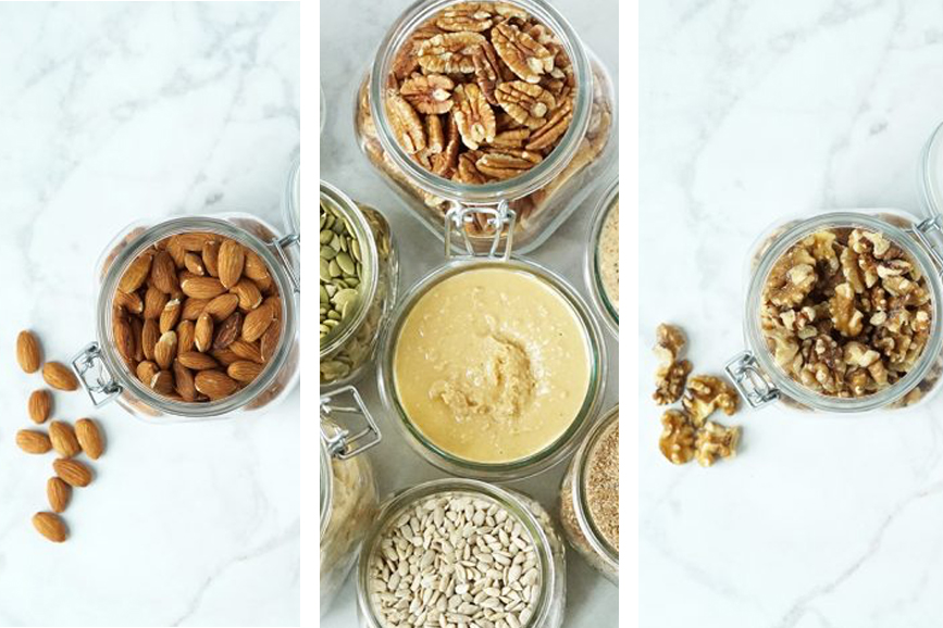 3 photos of Brianne Theisen-Eaton's favorite nuts, nut butters, and seeds from her website www.weareeaton.com
